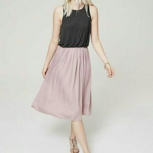 Loft grey and pink midi dress